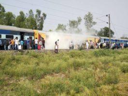 fire in rapti sagar express train