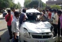 Swift car accident in sambhal