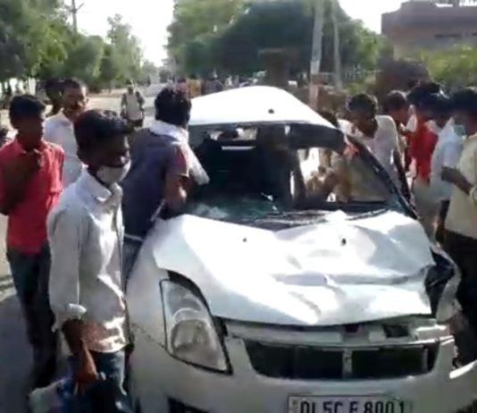 Swift car accident in sambhal
